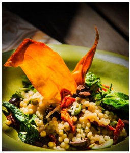 COUS COUS RISOTTO WITH OLIVES, BABY KALE AND SUN-DRIED TOMATOES