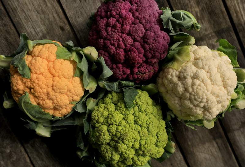 four colors of cauliflower