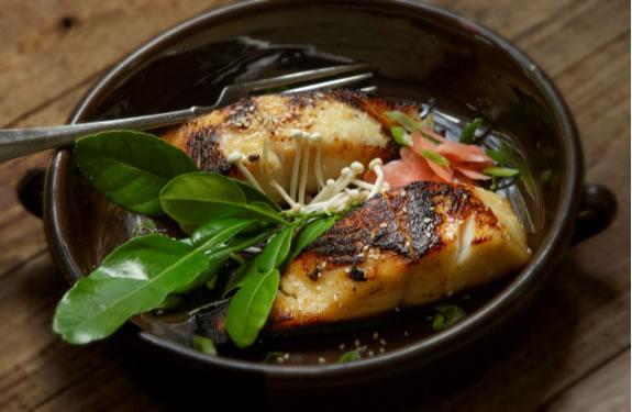 photo of black cod in pan