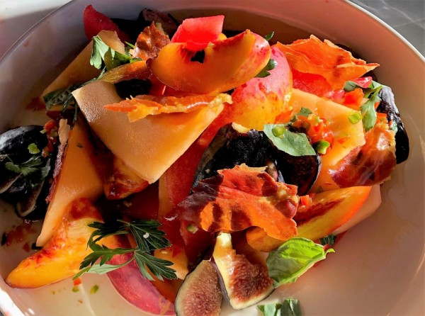 summer salad with peaches